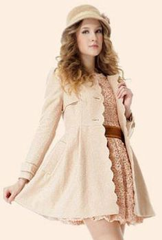 Goodbye Kiss Scallop Edge Coat in Beige
