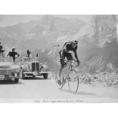 Fausto Coppi Climbing the Col Aubisque, 1949 Tour de France Vintage Cycling Poste