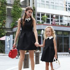 Mom daughter matching outfits are perfect to sport on the mother's day. Explore unique ideas for stylish and gorgeous matching dresses for mother and daughter Mom Daughter Matching Outfits, Mommy And Me Outfits, Family Outfits, Mom Dress, Baby Dress, Mother Daughter Fashion, Casual Dress Outfits, European Fashion, European Style