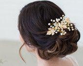 Gold Pearl Hair Vine Headpiece, Gold Leaves Bridal Comb, Wedding Hair Accessories, Pearl Bridal Headpiece, Gold Wedding Hair Accessories