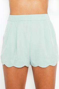 Minty Scallop Shorts are perfect for a day out  in the sun or a date night  Short Stories