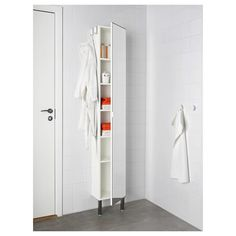 IKEA - LILLÅNGEN, High cabinet with mirror door, white, , The shallow sink cabinet is perfect where space is limited. Wood Storage Cabinets, Mirror Cabinets, Cupboard Storage, Locker Storage, Ikea Lillangen, Ideas Geniales, Wood Vanity, Mirror Door, Houses
