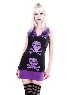 """Women's """"Skull & Crossbones"""" Tunic Dress by Rockin' Bones (Black/Purple)"""
