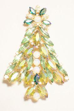 Gale & Friends Peridot Green Navette Rhinestone Christmas Tree Brooch #GaleFriends