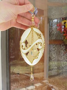 REAL Decorated Goose Egg Easter/Christmas Tree Chandelier Ornament Swarovski