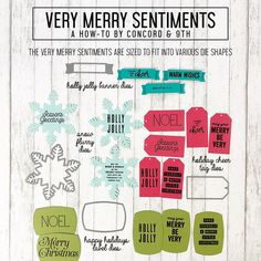 Very Merry Sentiments Stamp Set Holiday Cards, Christmas Cards, Xmas, Concord And 9th, Banner, Merry, Words, Card Ideas, Stamps
