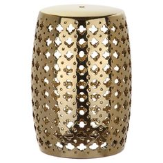 A chic spot for setting out extra towels in the guest bath or eye-catching accent to your foyer ensemble, this gold-finished garden stool features a quatrefo...
