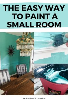 Learn the easy way to paint a small room to minimize the mess! Whether it's a small room or a small paint job, these tricks can help. Painting Tips, Painting Walls, Painting Small Rooms, Colorful Decor, Colorful Interiors, House Color Palettes, Fun Crafts To Do, Interior Design Tips, Design Blogs