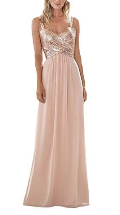 Rose Gold Firose Women s Sequined Sweetheart Backless Long Prom Bridesmaid  Dress 2 Rose Gold Rose Gold 609d30447a7f