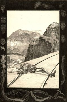 Max Klinger, On the tracks, plate 8 from on death, part 1, 1889