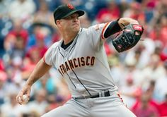 San Francisco Giants starting pitcher Tim Hudson pitches during the first inning of a baseball game against the Philadelphia Phillies, Thursday, July 24, 2014, in Philadelphia. (AP Photo/Chris Szagola)