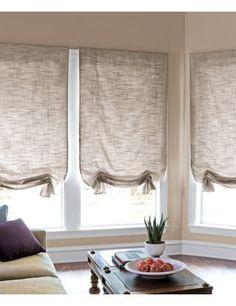 Window Treatment. plan on using hardware from cheap mini blinds and then taking off the slats I think. I like the softer look to the roman shades on these