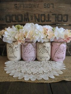 Rustic Wedding Mason Jars Centerpieces - Burlap wedding painted Mason Jars decor, vintage wedding table decor ideas, 2014 valentine's day ideas www.loveitsomuch.com