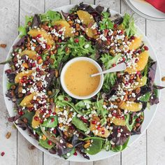 Christmas Salad with Citrus-Champagne Vinaigrette – Two Healthy Kitchens Our easy, beautiful Christmas Salad can even be served as a wreath! So delicious with pistachios, pomegranate, oranges and goat cheese with a light citrus-champagne vinaigrette! Healthy Christmas Recipes, Holiday Recipes, Healthy Recipes, Dinner Recipes, Eat Healthy, Salad Presentation, Vegan Christmas Dinner, Champagne Vinaigrette, Champagne Vinegar