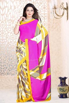Indian Designer Pink Satin with Georgette Sarees are now in store presents by Andaaz Fashion with price $38.54. Embellished with printed work and Yellow Satin with Georgette Short Sleeve Blouse. This is perfect for festival wear, casual, ceremonial. http://www.andaazfashion.us/pink-satin-with-georgette-saree-and-yellow-blouse-dmv7898.html