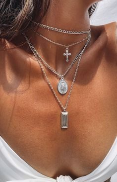 Eclat Hallelujah Layered Necklace Silver – Beginning Boutique Stacked Necklaces, Layered Necklaces Silver, Layered Chain Necklace, Gold Necklaces, Simple Silver Necklace, Sterling Silver Layered Necklace, Layering Necklaces, Layered Chains, Layer Necklace