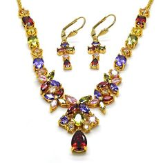 e5c8fed66c0e Flower Set Necklace and Earring Gold Layered Gold Plated Gold Filled  Milanus Jewelry 06.221.0008.1
