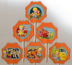 Bob the Builder Birthday Party Cupcake Toppers Set of 12 food picks. $9.00, via Etsy.