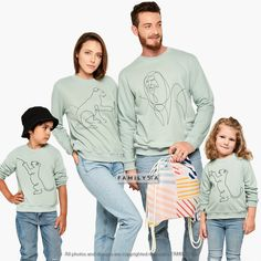 Matching Family Sweatshirts, Family Blouses, Matching Family Outfit, Family Home Set, Cute Sweatshirts, Family Graphic Sweatshirts, Family Matching Gifts, Matching Family Outfits, Family Christmas Outfits, Couple Pajamas, Lounge Outfit, Cute Sweatshirts, Matches Fashion, Mommy And Me