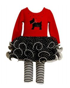 Bonnie Jean-Red Scotty Tutu Pant Set -  Size 6 $29.99