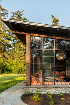 Honored that our Whidbey Island Fieldhouse received Place for Residential New Construction under sf at the Washington State ASID… Tyni House, Timber Structure, Whidbey Island, Shed Roof, Prefab Homes, New Construction, Interior Architecture, Gazebo, New Homes
