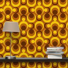 Non-woven Wallpaper Retro Wallpaper - 70s Circle Wallpaper yellow brown - Mural