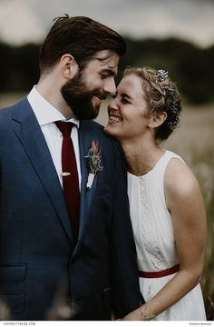 Intimate wedding couple shot with the bride in a relaxed white dress and red belt and the groom in a neat navy suit with a deep red tie! Brad And Jen, Engagement Shots, Couple Shots, Red Belt, Groom And Groomsmen, White Wedding Dresses, Wedding Couples, Navy Suits, White Dress