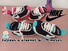 zapatitos nike tejidos a crochet para bebe - YouTube