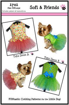 FLASH SALE Tutu Dog Dress Pattern 1701 XXLarge by SofiandFriends