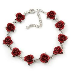 Romantic Red Rose Bracelet In Rhodium Plating - Length/ Extension >>> To view further for this item, visit the image link. (This is an affiliate link) Rose Jewelry, Clay Jewelry, Jewelery, Jewelry Necklaces, Stylish Jewelry, Unique Jewelry, Jewelry Accessories, Fashion Jewelry, Fantasy Jewelry