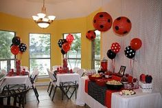 Polka Dot Birthday Supplies, Decor, Clothing: Heather's Red & Black Polka Dot Ladybug Party