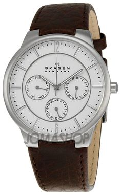 Skagen White Dial Brown Leather Mens Watch 331XLSL1