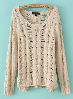 Apricot Long Sleeve Ripped Cable Knit Sweater US$33.44