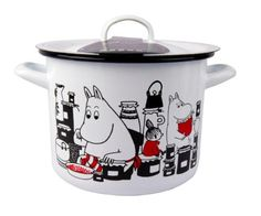 This white pot features characters from the Moominvalley. The pot is suitable for use in the kitchen. The enamel surface is extremely durable. Moomin Shop, Induction Stove, White Pot, Tove Jansson, Kitchen Items, Kitchen Stuff, Kitchen Gadgets, Plates And Bowls, China Dinnerware