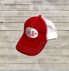 Red/White Relaxed Front Lake Bum Established Trucker Hat