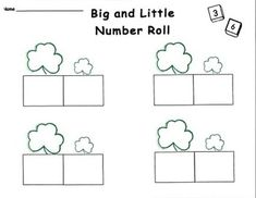 FREE!!! This dice game is a fun way to practice number skills with a March theme. Students play alone or in groups at math centers. Larger and smaller numbers are recorded in the boxes under the corresponding size shamrocks. Dominoes may be used as an alternative to dice.
