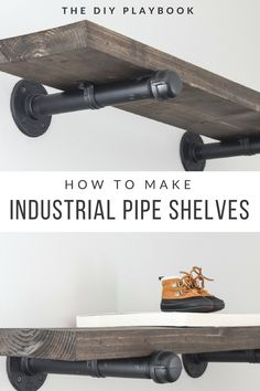 How to Build DIY Industrial Galvanized Pipe Shelves Do you love the look of those industrial pipe shelves? This step by step tutorial will show you how to create DIY pipe shelves at home. Galvanized Pipe Shelves, Diy Pipe Shelves, Industrial Pipe Shelves, Industrial House, Diy Furniture Industrial, Shelves With Pipes, Plumbing Pipe Shelves, Pipe Shelving, Wall Brackets For Shelves