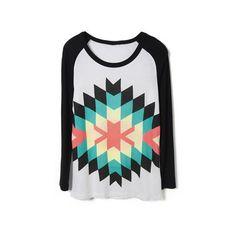 Black Long Sleeve Diamond Print T-Shirt ($34) ❤ liked on Polyvore