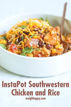 InstaPot Southwestern Chicken and Rice is an easy, throw it all in and set it, types of meals. The flavors are infused into the chicken by the InstaPot. Southwestern Chicken, Spicy Salsa, Chips And Salsa, Chicken Seasoning, Cooker Recipes, Healthy Recipes, Ninja Recipes, Delicious Recipes, Easy Recipes