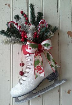 Christmas decor Decorated Ice Skate Christmas Ice skate by 6miles, $36.00