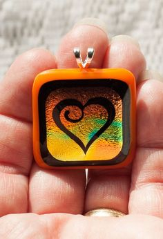 Fused Glass Pendants | Orange Dichroic Fused Glass Heart Pendant by StaceyLeighDesigns, $15 ...