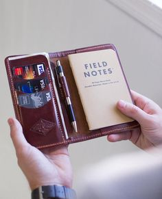 Never miss an opportunity to record your thoughts! Passport Wallet, Passport Cover, Leather Wallet Pattern, Brown Leather Wallet, Moleskine, Personalised Gifts Handmade, Leather Workshop, Field Notes, Leather Projects