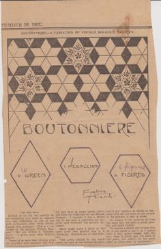 Boutonniere quilt pattern from The Weekly Kansas City Star September 30,1931