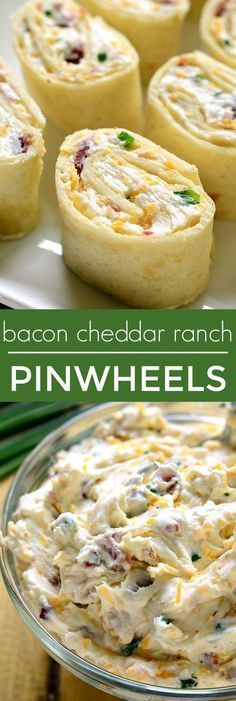 Bacon Cheddar Ranch Pinwheels ~ are the perfect party food! Loaded with bacon, cheddar cheese, and creamy ranch flavor, they're sure to become your new favorite party appetizer!