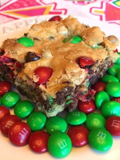 Christmas M&M's Cookie Squares Recipe
