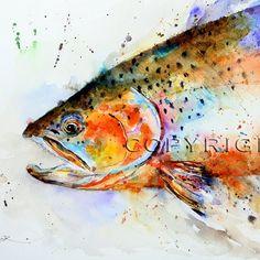 Kunst von Dean Crouser Fisch CUTTHROAT Forelle Aquarell zu