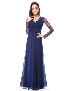 Formal Evening Dresses Ever Pretty Women's Autumn Elegant V-neck Long Sleeve Lace Plus Size Prom Evening Party Gowns Lace Evening Gowns, Sexy Evening Dress, Long Sleeve Evening Dresses, Evening Party Gowns, Formal Evening Dresses, Formal Gowns, Elegant Dresses, Sleeve Dresses, Navy Blue Bridesmaid Dresses