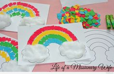 Life of a Missionary Wife: Simple Rainbow Craft Diy Crafts Hacks, Paper Crafts For Kids, Diy For Kids, Easy Crafts, Diy And Crafts, Toddler Learning Activities, Montessori Activities, Kindergarten Activities, Preschool Activities