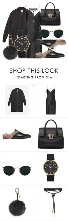 """#Look:#418"" by dollarwomanlux ❤ liked on Polyvore featuring Zara, Yves Saint Laurent, Gucci, Versace, Ray-Ban, Marc by Marc Jacobs and Fendi"