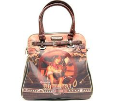 Women's Shoulder Bags - COWGIRL WHEEL WESTERN PRINT SHOULDER BAG BROWN * Continue to the product at the image link.